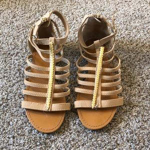 Tan and Gold Gladiator Sandals
